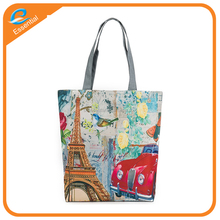 Wholesale cotton cloth canvas printed bag with zipper