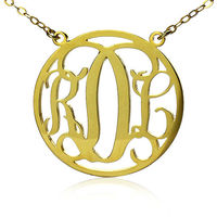 18k Gold Plated Circle Nameplate Pendant 3 Letters Monogrammed Jewelry130901-30