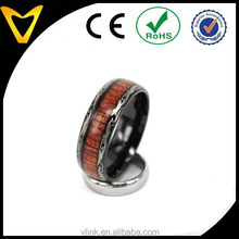 Unique Wood Accessories 8mm Tungsten Carbide Ring Koa Wood Inlay Dome Edge Comfort Fit Wedding Band Real Hawaiian Koa Wood Inlay
