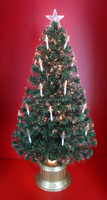 150cm Fiber Candle Decor Green Leaf Fiber Optic Christmas Trees