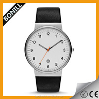 Personalized watch PU black leather band with round alloy watch case