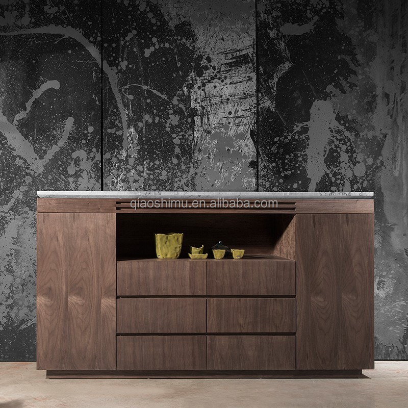 Modern luxury Oak veneer sideboard with natural marble top
