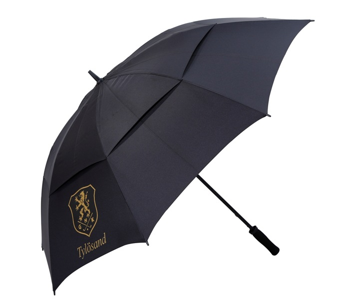 custom black windproof double canopy golf umbrella with logo print