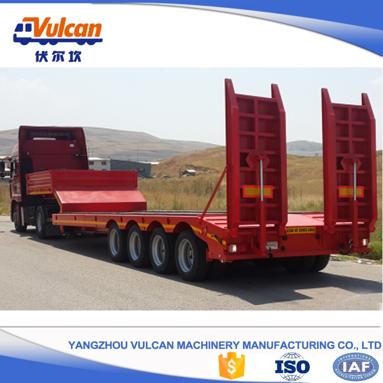 Hot selling steel 60 tons low bed semi truck trailer with ISO