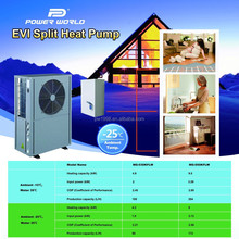Best COP Never Frozen Split EVI Air Source Heat Pump for Low Temperature Area in Europe