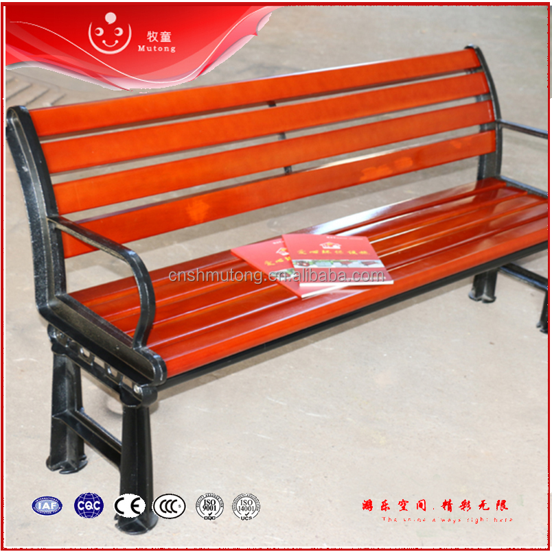 Hot Steel Frame Solid Wood Cement Legs Park Bench Outdoor