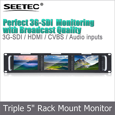 "FEELWORLD 1280x800 Dual Screen IPS 7"" Broadcast rack mount hd-sdi lcd monitor"