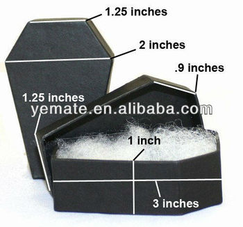 NEW Cardboard Black Coffin Jewelry Gift Box with cotton filled