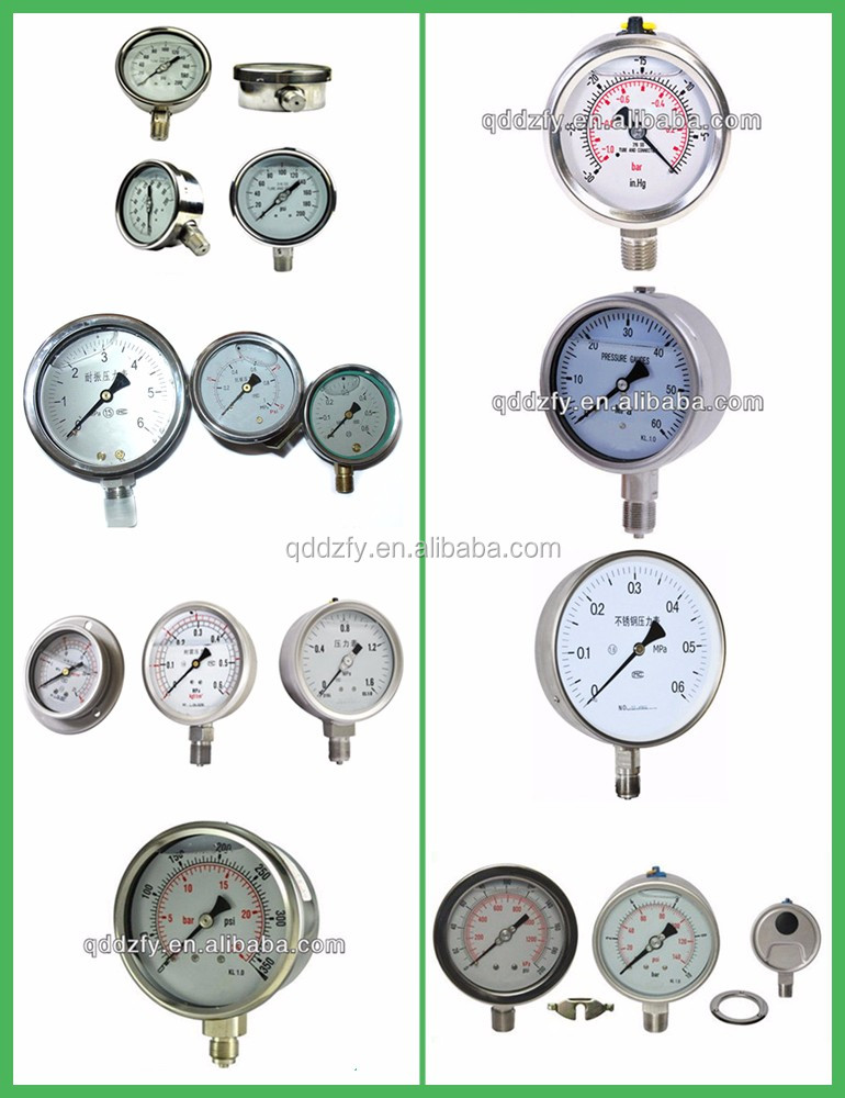 WYYW 60mm bottom connection oil filled pressure gauge