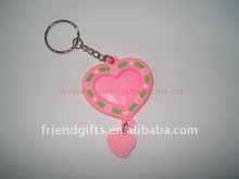fashion custom 3D soft pvc/plastic/rubber love heart keychain for promotion 2012