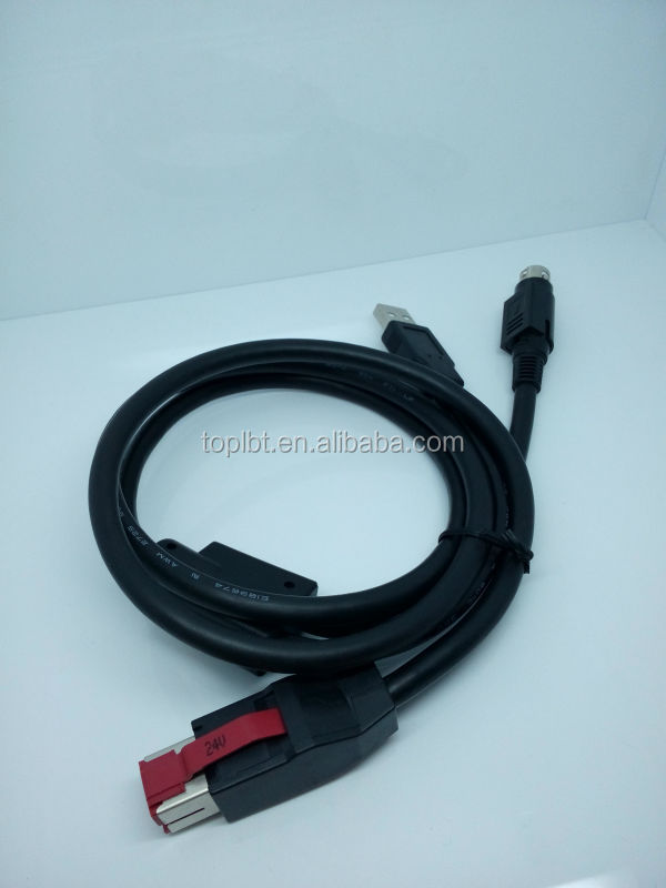 24V USB Power Cable to USB2.0 A male and 3DIN for Printer