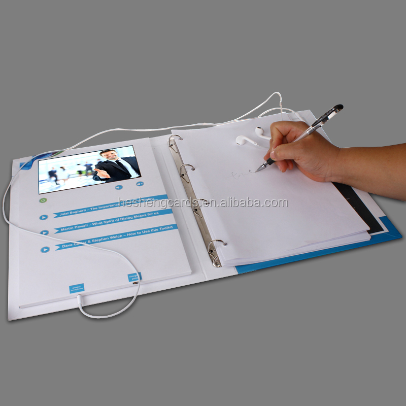 promotional items 7 inch video hybrid book,video floder with a headphone jack