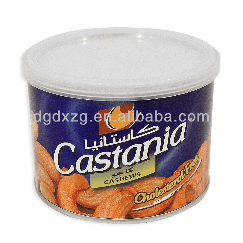 food potato chips tin can box with plastic cap