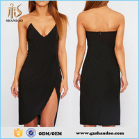 One Piece High Quality Ladies Sexy Black One Leg Slit Strapless Night Club Dresses 2015