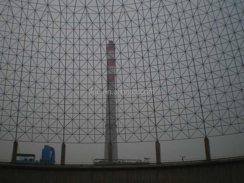 economical steel space frame for limestone storage domes