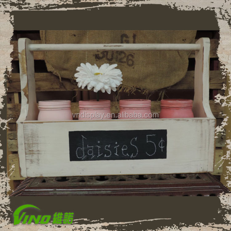 Shabby Chic wooden counter display box,handmade kid storage box with chalk board,custom wood boxes for fruit vegetable