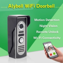 AlyBell Aly802 night vision motion detection hd camera door bell android iOS smartphone answer intercom access control wifi