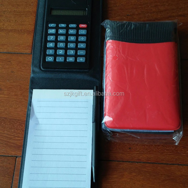 2015 new pu feather case hot sale 8 digits solar notebook with calculator