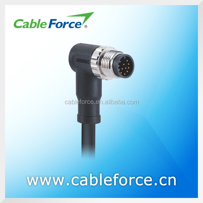 IEC 61076-2-101 1.5A 30V M12 12 pin male A Coding sensor connector right angled EMI shielded Cable