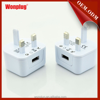 2014 2.1A usb mobile phone travel chargers mobile phone accessories plastic bags with UK plug