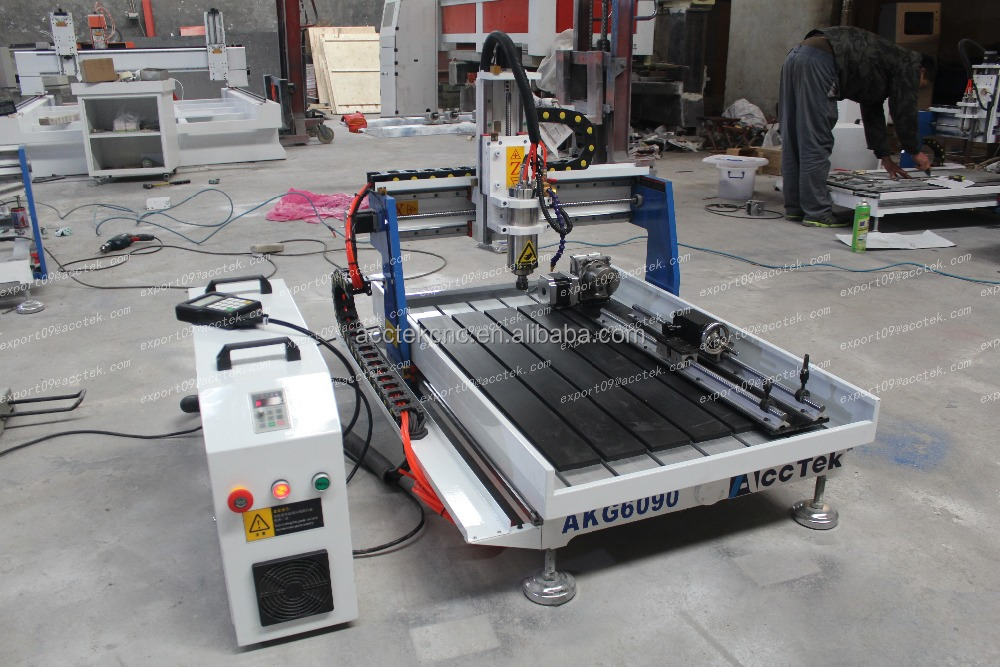 4 axis 6090 cnc, 6090 4 axis cnc router cutting aluminum