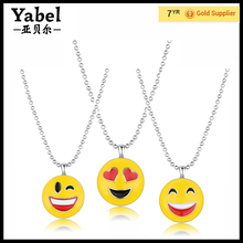 Fashion Lovely Latest Design gold Emoji Necklace For Women Wholesale cute kids gold pendant necklace