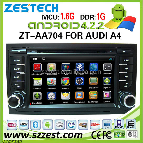 "ZESTECH 7"" Pure Android 4.2.2 multipoint capacitive touch screen Car dvd gps for Audi A4 gps navigation"