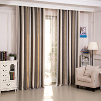 New products most popular ready made striped style chenille curtain for living room