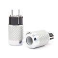 Pair Carbon Fiber Rhodium Plated European Schuko Power Plug HiFi Poland Spain Hungary Russia AC Connectors+IEC Female Connector