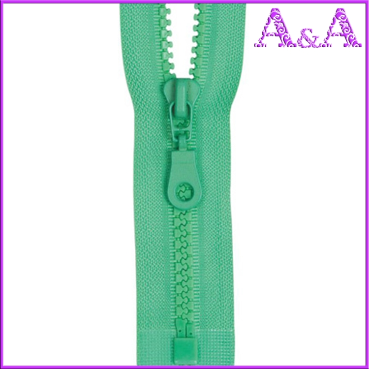 5# Plastic waterproof zipper with green tape O/E A/L