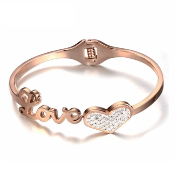 Titanium Steel 18K Rose Gold Love Knot Heart Crystal Bangle Bracelet