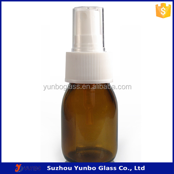 30ml pharmaceutical bottle amber syrup glass medical bottle with DIN28mm white atomizer <strong>spray</strong>