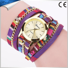 2016 New Arrival Wrap Around Bracelet Watch Bowknot Crystal Imitation Leather Chain Women's Quartz Wrist Watches WW054