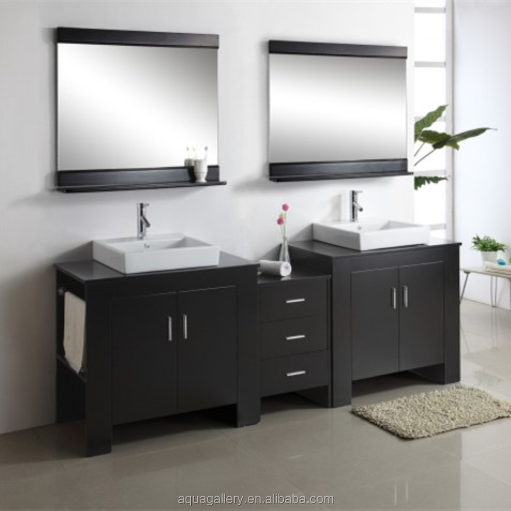 Free Standing Solid Wooden Double Sink Bathroom Vanity Twin Cabinet Buy Double Sink Bathroom