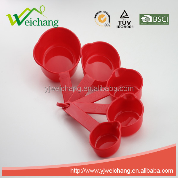WCMY041 Kitchen red color PP Set Of 5 Measuring cups