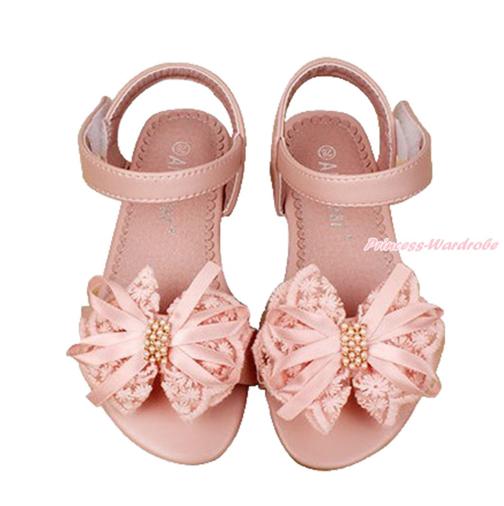 Pink Elegant Butterfly Flower Pearl Lace Bow Sandals Kid Girl Party Shoes L05-85
