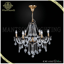 2015 light modern style french gold chandelier dressed with high quality glass and crystal 6 lights candle chandelier