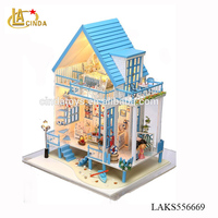 Cute mini DIY wooden doll house with light, best gift toys for children