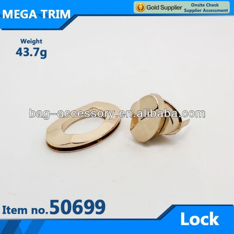 No.50699 light gold metal bag turn lock hardware