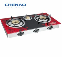 glass top two burner LPG gas stove kitchen appliance