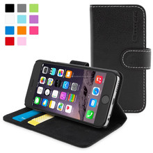 Snugg case for iPhone 6 Case - Leather Flip Case with Lifetime Guarantee (Black) for Apple iPhone 6