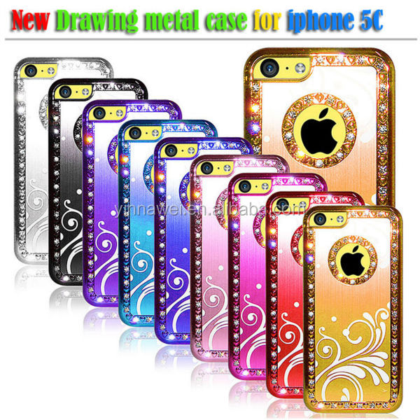 Waves Style diamond bling phone case for APPLE iphone 5c luxury phone case