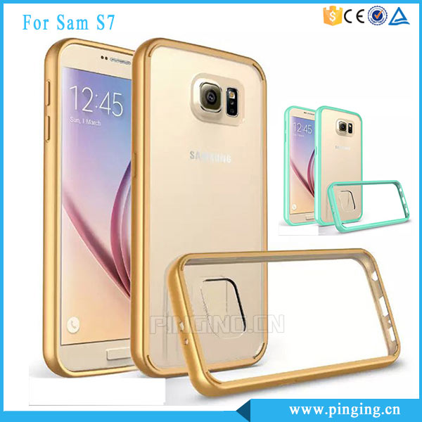 Ultrathin clear crystal phone case for samsung s7 hard back plastic acrylic with candy color tpu bumper