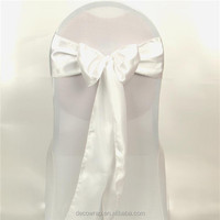 White Air-layer Elasitc Chair Cover With Sashes For Wedding