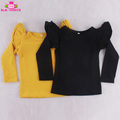 Black & Mustard Girls' Long Sleeve Three Layered Ruffles T Shirt Kids Cotton Blanks T Shirts Ruffle Tunic Tops Wholesale