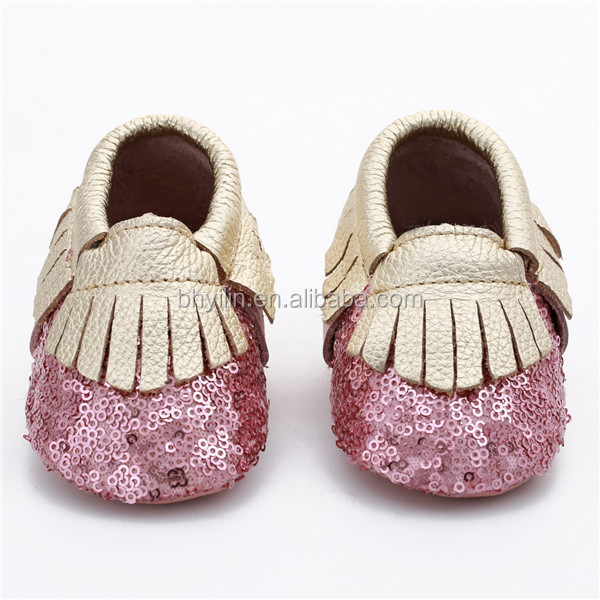 2017 Glitter tassel leather Sole Baby Girls Party Shoes Kids Squeaky Shoes