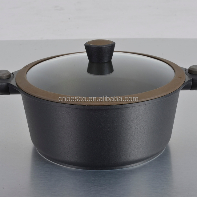 Aluminum cookware 24cm best casserole with non-stick coating and removable handle