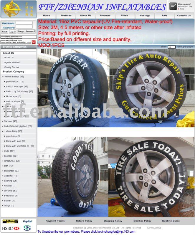 inflatable replica /inflatable tire /inflatable advertisement products