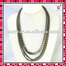 2012 Latest design multi strand metal necklace for man