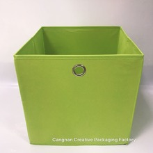 Promotional custom printed green plastic fabric storage box foldable for toys